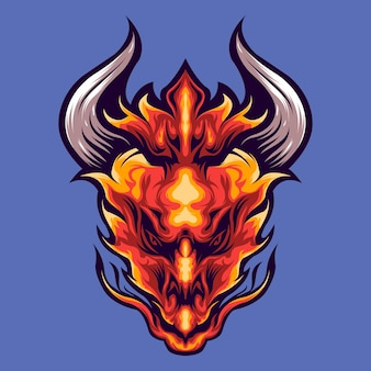 Ilustracja głowa smoka ognia