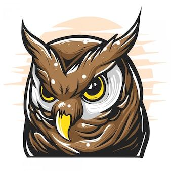 Ilustracja głowa sowy