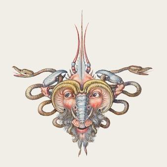 Ilustracja głowa trolla