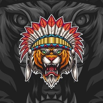 Ilustracja głowa tygrysa indyjskiego