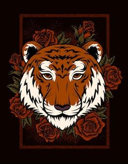 Ilustracja głowa tygrysa z kwiatem róży