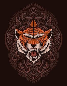 Ilustracja głowa tygrysa z ornamentem vintage grawerowania