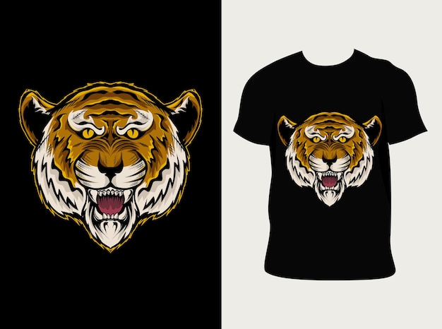 Ilustracja głowa tygrysa z projektem koszulki