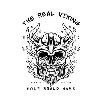 Ilustracja głowa wikinga czaszki