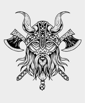 Ilustracja głowa wikinga z bronią topór