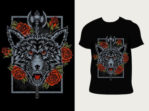 Ilustracja głowa wilka i kwiat róży z projektem koszulki