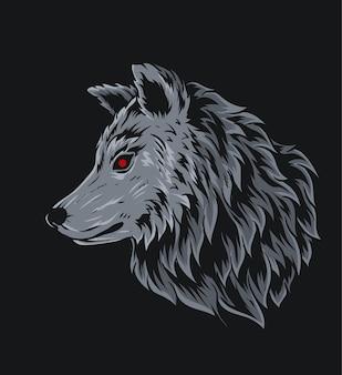 Ilustracja głowa wilka na czarnym tle