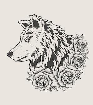Ilustracja głowa wilka z monochromatycznym stylem różanego kwiatu