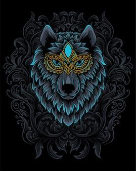 Ilustracja głowa wilka z ornamentem grawerowania.