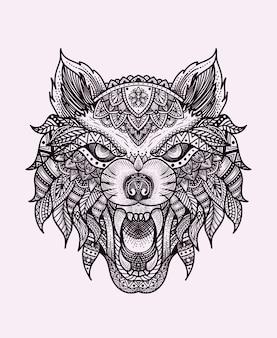 Ilustracja głowa wilka z ornamentem mandali.