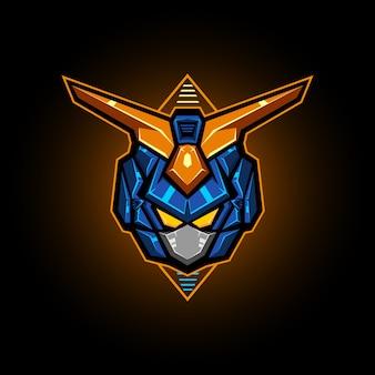 Ilustracja głowicy robota wektor esports logo