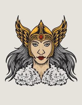 Ilustracja głowy bogini walkirii na białym tle