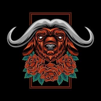 Ilustracja głowy byka z ornamentem róży