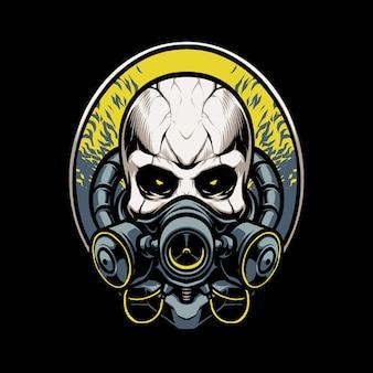 Ilustracja głowy czaszki maski zagrożenia biologicznego