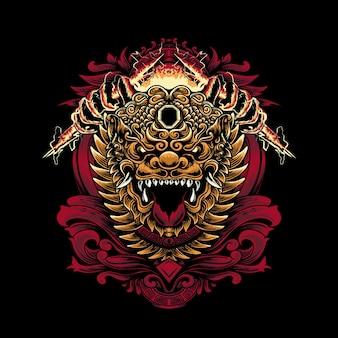 Ilustracja głowy foo tiger