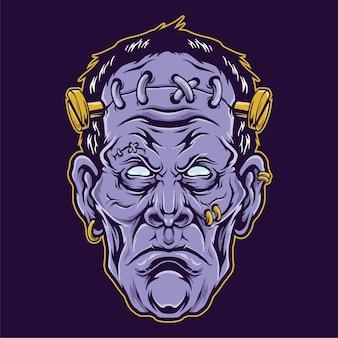 Ilustracja głowy frankensteina
