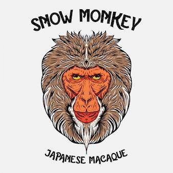 Ilustracja głowy japońskiej małpy śnieżnej