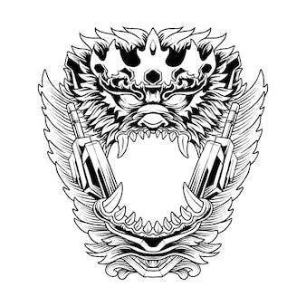 Ilustracja głowy króla małpy