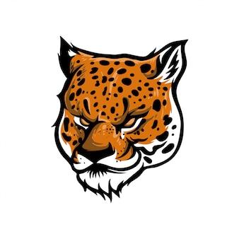 Ilustracja głowy lamparta lub jaguara na logo