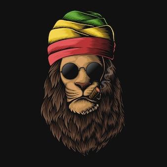Ilustracja głowy lwa rasta