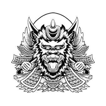 Ilustracja głowy małpy