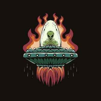 Ilustracja głowy obcych i ufo z ogniem do projektowania i drukowania koszulki