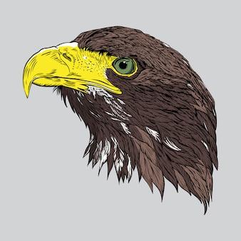 Ilustracja głowy orła w stylu grawerowane