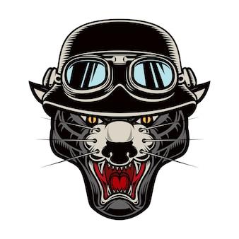 Ilustracja głowy pantera w kasku rowerzysty
