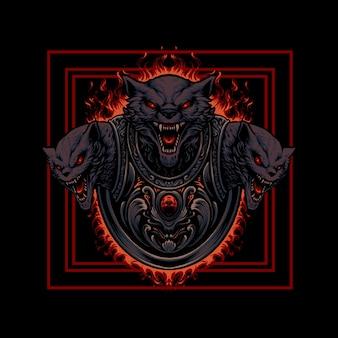 Ilustracja głowy potwora cerberusa