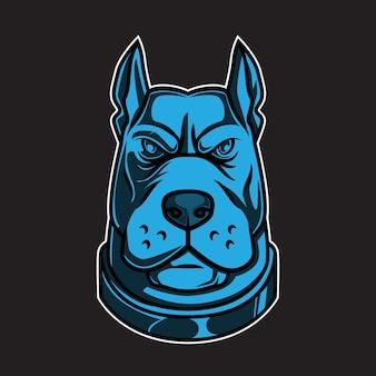 Ilustracja głowy psa pitbull w kolorze niebieskim