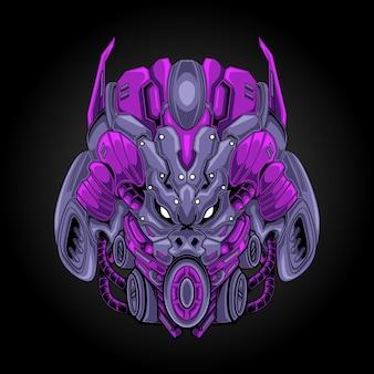 Ilustracja głowy robota potwora