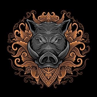 Ilustracja głowy świni ze stylem grawerowania