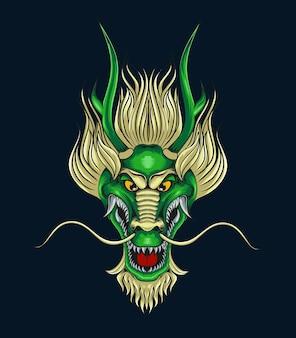 Ilustracja głowy zielonego smoka