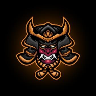 Ilustracja głowy złego ronina samuraja, logo maskotki samurajów