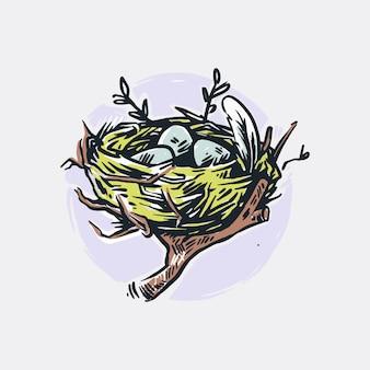 Ilustracja gniazdo ptaka