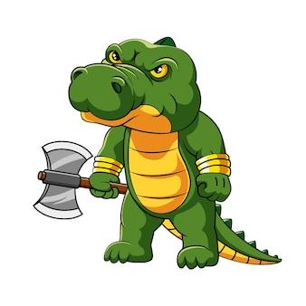 Ilustracja gniewnego krokodyla stoi i trzyma duży topór