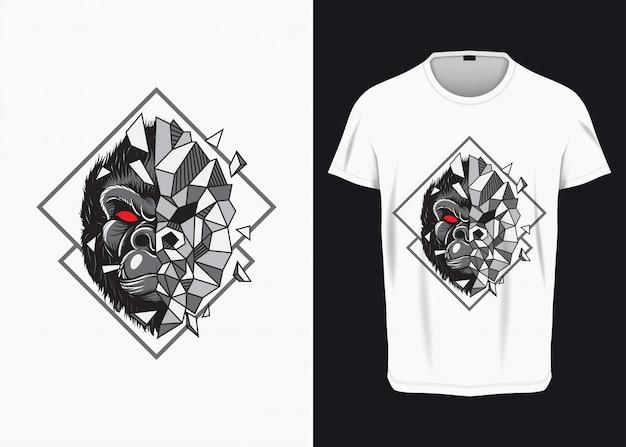 Ilustracja gniewnej twarzy goryla zbijającego szkło dla koszulki