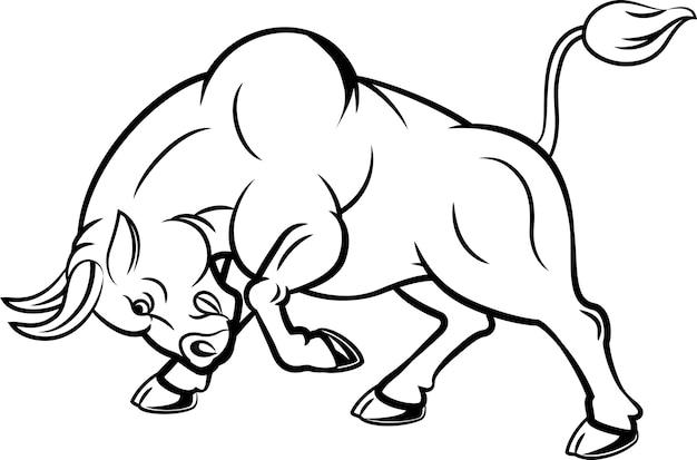 Ilustracja gniewny byk z napadanie pozą
