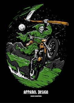 Ilustracja goblin ride motor cross