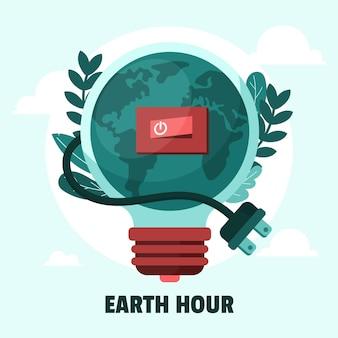 Ilustracja godziny dla ziemi z żarówką, przełącznikiem i przewodem zasilającym