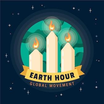 Ilustracja godziny dla ziemi ze świecami