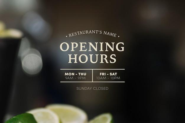 Ilustracja godziny otwarcia firm ze zdjęciem