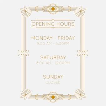 Ilustracja godziny otwarcia ozdobnych firm