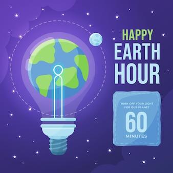 Ilustracja godziny ziemskiej z planetą i żarówką