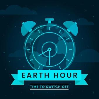 Ilustracja Godziny Ziemskiej Z Planetą I Zegarem Premium Wektorów