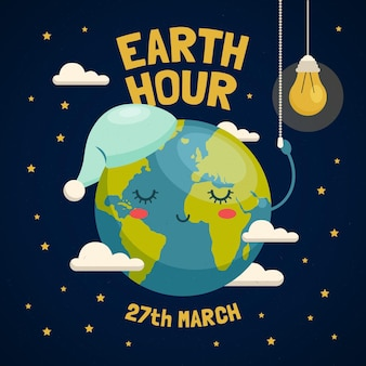 Ilustracja godziny ziemskiej ze śpiącą planetą i żarówką