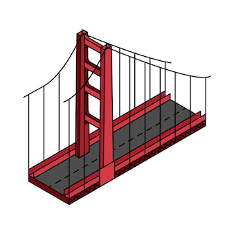 Ilustracja golden gate bridge san francisco w usa
