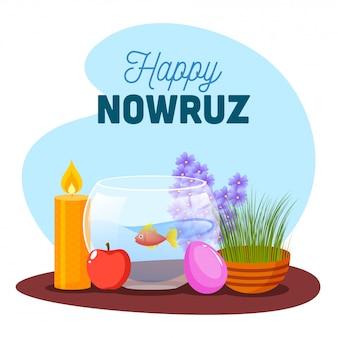 Ilustracja goldfish bowl z semeni (trawa), jabłko, jajka, podświetlana świeca i hiacynt na abstrakcjonistycznym tle dla szczęśliwego nowruz świętowania.