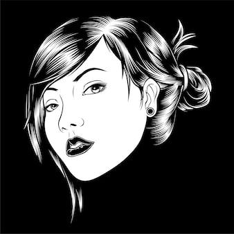 Ilustracja gorąca seksowna piękna dziewczyny twarz
