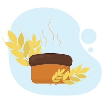 Ilustracja gorącego chlebakłoski pszenicy z chlebem światowy dzień chleba reklama pocztówka baner
